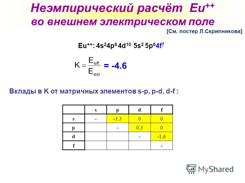 Eu ++ : 4s 2 4p 6 4d 10 5s 2 5p 6 4f 7 Вклады в K от матричных элементов s-p, p-d, d-f : spdf s--3.300 p -0.30 d --1.6 f - = -4.6 Неэмпирический расчёт Eu ++ во внешнем электрическом поле [См. постер Л.Скрипникова]