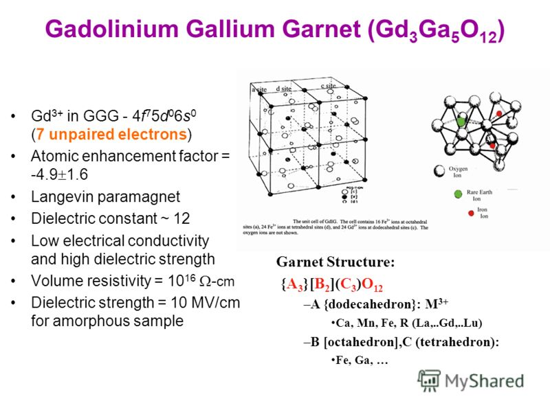 Gadolinium Gallium Garnet (Gd 3 Ga 5 O 12 ) Gd 3+ in GGG - 4f 7 5d 0 6s 0 (7 unpaired electrons) Atomic enhancement factor = -4.9 1.6 Langevin paramagnet Dielectric constant ~ 12 Low electrical conductivity and high dielectric strength Volume resisti