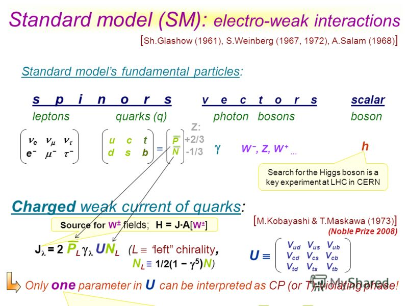 Standard model (SM): electro-weak interactions s p i n o r s v e c t o r s scalar leptons quarks (q) photon bosons boson Standard models fundamental particles: Charged weak current of quarks: h e W, Z, W + … u c t d s b PNPN V ud V us V ub V cd V cs