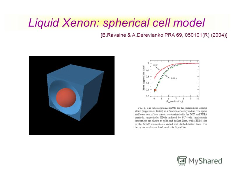 Liquid Xenon: spherical cell model [B.Ravaine & A.Derevianko PRA 69, 050101(R) (2004)]
