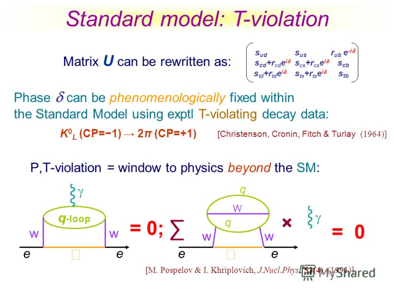 P,T-violation = window to physics beyond the SM: e w q -loop w e = 0; = 0 ww ee W q q × [M. Pospelov & I. Khriplovich, J.Nucl.Phys. 53(4) (1991)] Standard model: T-violation Matrix U can be rewritten as: s ud s us r ub e -i s cd +r cd e i s cs +r cs
