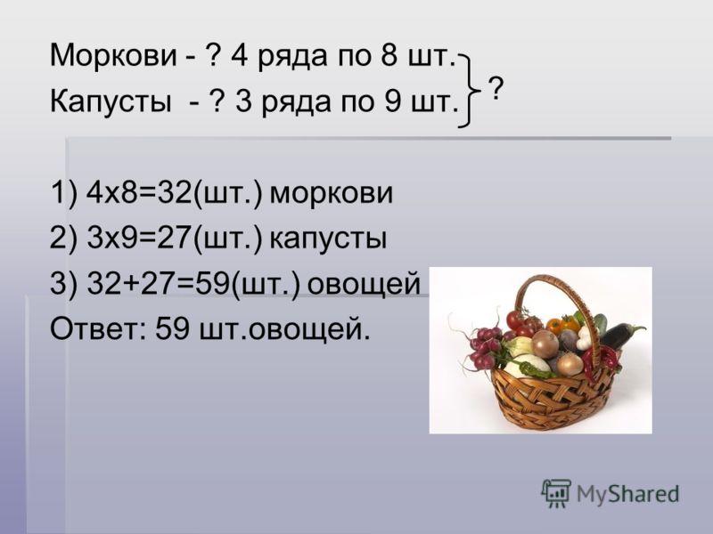 Моркови - ? 4 ряда по 8 шт. Капусты - ? 3 ряда по 9 шт. 1) 4х8=32(шт.) моркови 2) 3х9=27(шт.) капусты 3) 32+27=59(шт.) овощей Ответ: 59 шт.овощей. ?
