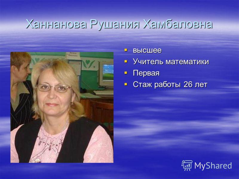 Ханнанова Рушания Хамбаловна высшее высшее Учитель математики Учитель математики Первая Первая Стаж работы 26 лет Стаж работы 26 лет