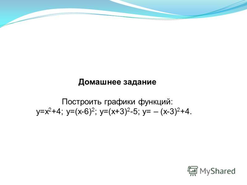 Домашнее задание Построить графики функций: y=x 2 +4; y=(x-6) 2 ; y=(x+3) 2 -5; y= – (x-3) 2 +4.