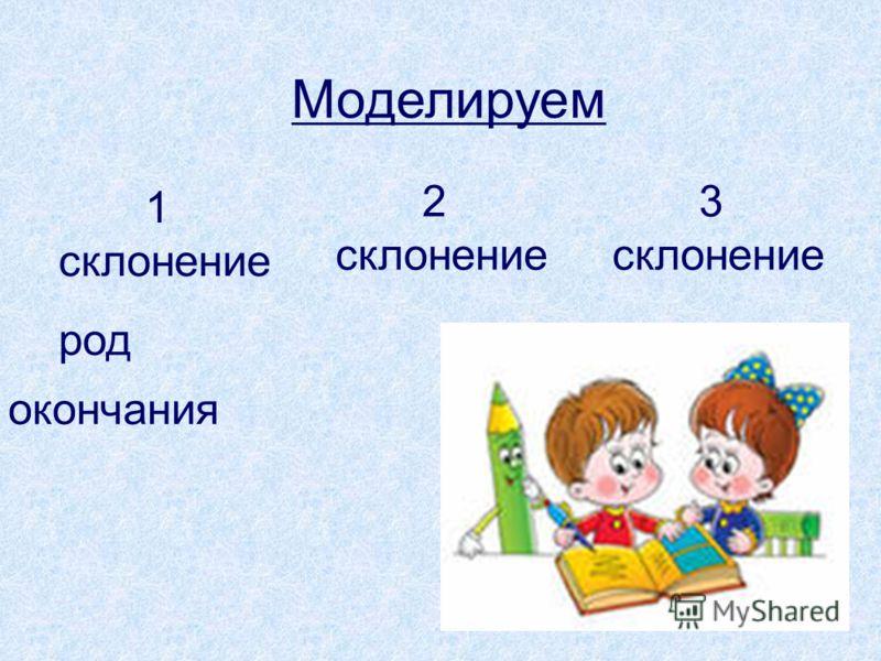 Моделируем 1 склонение 2 склонение 3 склонение род окончания