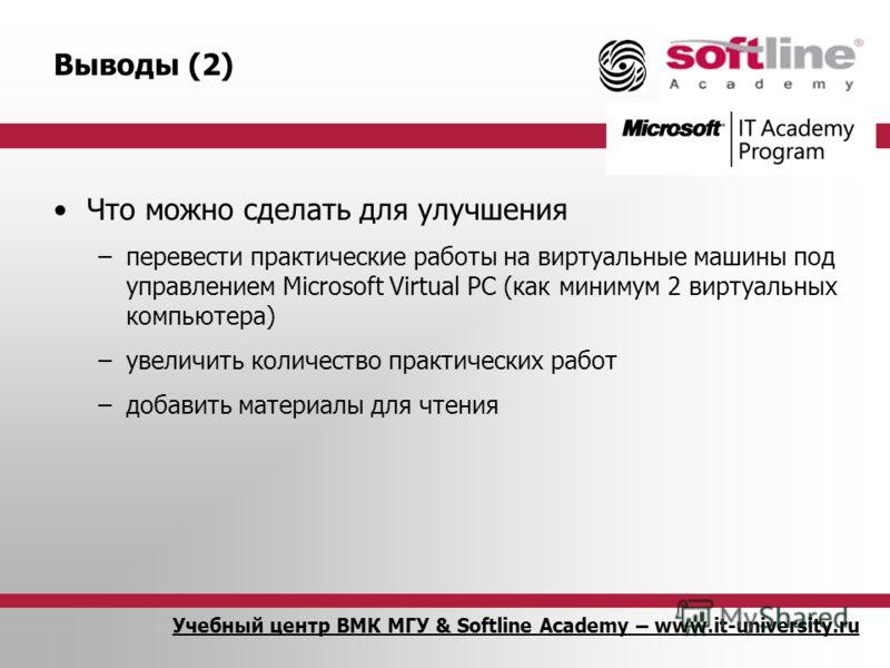 Учебный центр ВМК МГУ & Softline Academy – www.it-university.ru Выводы (2) Что можно сделать для улучшения –перевести практические работы на виртуальные машины под управлением Microsoft Virtual PC (как минимум 2 виртуальных компьютера) –увеличить кол