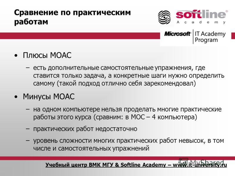 Учебный центр ВМК МГУ & Softline Academy – www.it-university.ru Сравнение по практическим работам Плюсы MOAC –есть дополнительные самостоятельные упражнения, где ставится только задача, а конкретные шаги нужно определить самому (такой подход отлично
