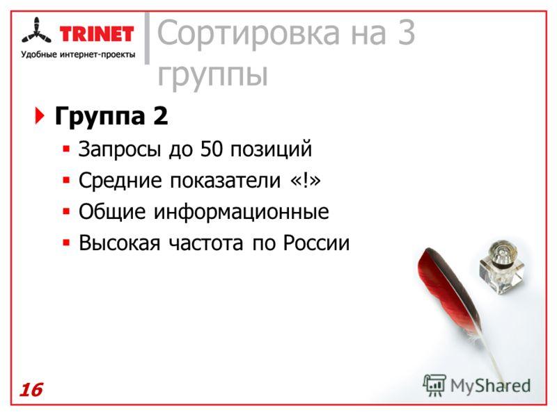 Сортировка на 3 группы Группа 2 Запросы до 50 позиций Средние показатели «!» Общие информационные Высокая частота по России 16