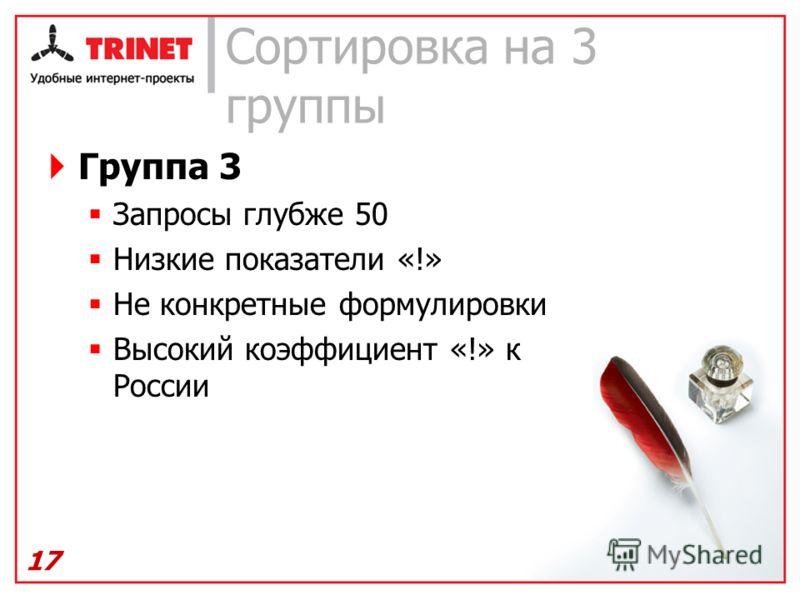 Сортировка на 3 группы Группа 3 Запросы глубже 50 Низкие показатели «!» Не конкретные формулировки Высокий коэффициент «!» к России 17