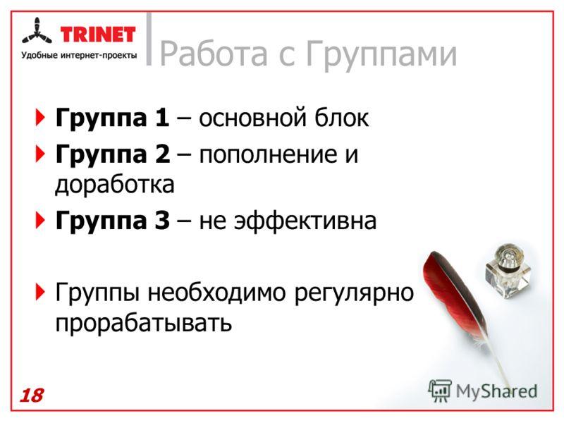 Работа с Группами Группа 1 – основной блок Группа 2 – пополнение и доработка Группа 3 – не эффективна Группы необходимо регулярно прорабатывать 18