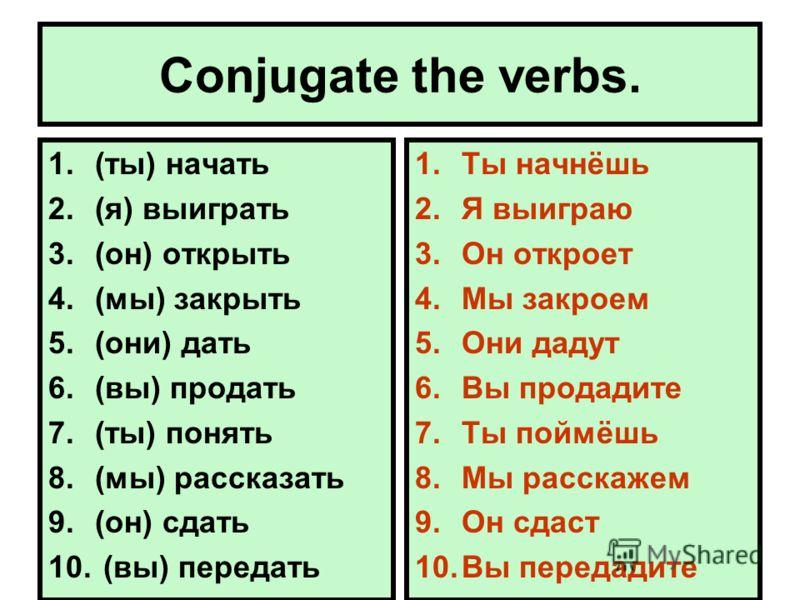 Conjugate the verbs. 1.(ты) начать 2.(я) выиграть 3.(он) открыть 4.(мы) закрыть 5.(они) дать 6.(вы) продать 7.(ты) понять 8.(мы) рассказать 9.(он) сдать 10. (вы) передать 1.Ты начнёшь 2.Я выиграю 3.Он откроет 4.Мы закроем 5.Они дадут 6.Вы продадите 7