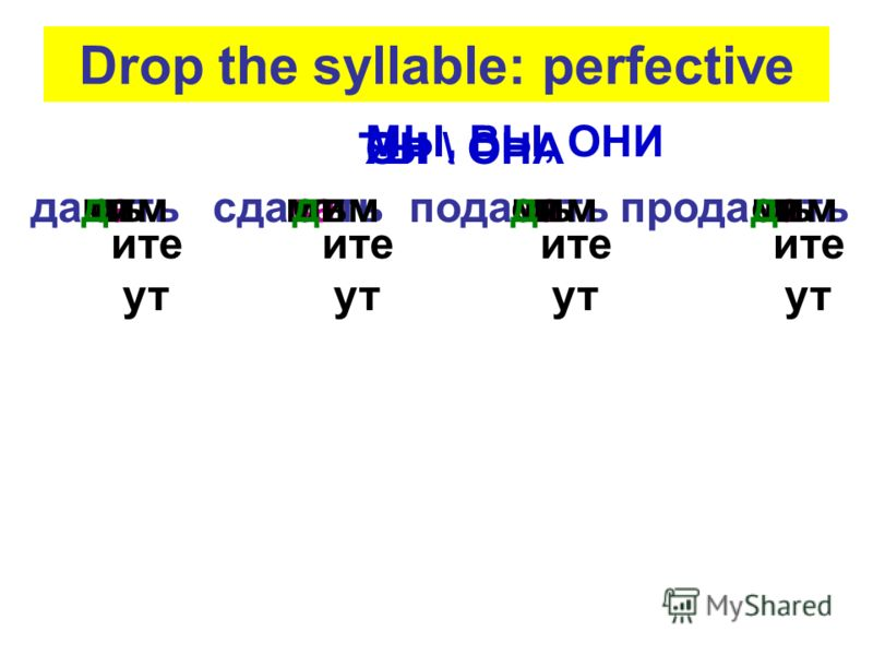 Drop the syllable: perfective давасдаваподавапродавать ммммшь ст дим ите ут ите ут ите ут ите ут ЯТЫОН \ ОНА МЫ, ВЫ, ОНИ