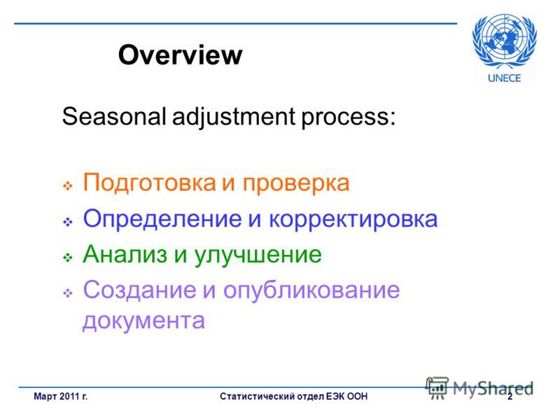 Статистический отдел ЕЭК ООН 2Март 2011 г. Overview Seasonal adjustment process: Подготовка и проверка Определение и корректировка Анализ и улучшение Создание и опубликование документа