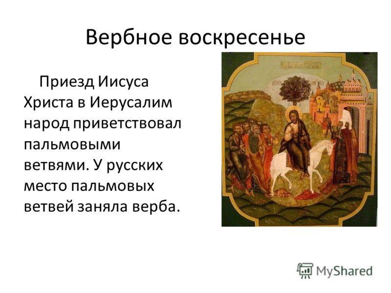 Вербное воскресенье Приезд Иисуса Христа в Иерусалим народ приветствовал пальмовыми ветвями. У русских место пальмовых ветвей заняла верба.
