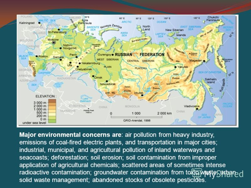 Major environmental concerns are: air pollution from heavy industry, emissions of coal-fired electric plants, and transportation in major cities; industrial, municipal, and agricultural pollution of inland waterways and seacoasts; deforestation; soil
