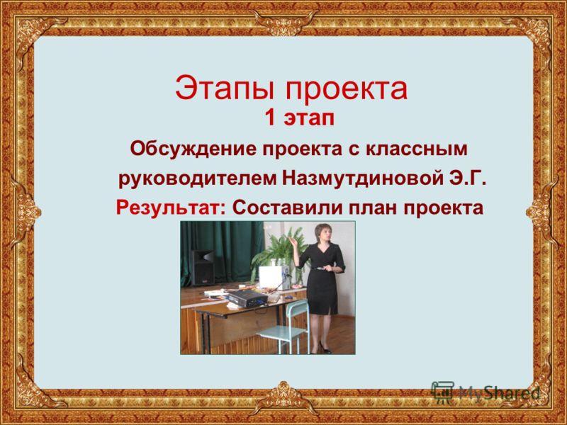 Этапы проекта 1 этап Обсуждение проекта с классным руководителем Назмутдиновой Э.Г. Результат: Составили план проекта