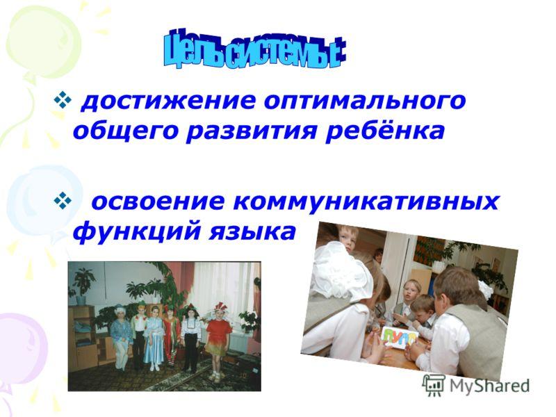 достижение оптимального общего развития ребёнка освоение коммуникативных функций языка