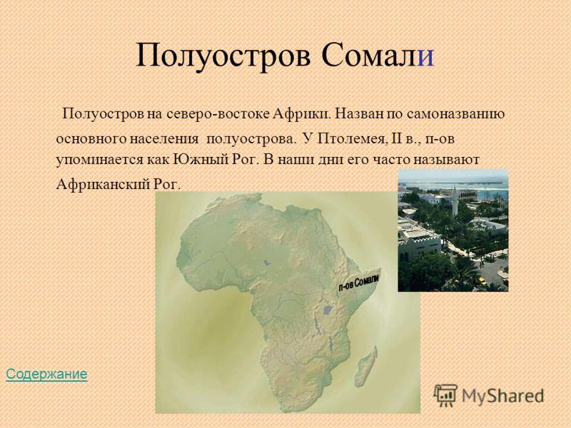 Полуостров Сомали Полуостров на северо-востоке Африки. Назван по самоназванию основного населения полуострова. У Птолемея, II в., п-ов упоминается как Южный Рог. В наши дни его часто называют Африканский Рог. Содержание