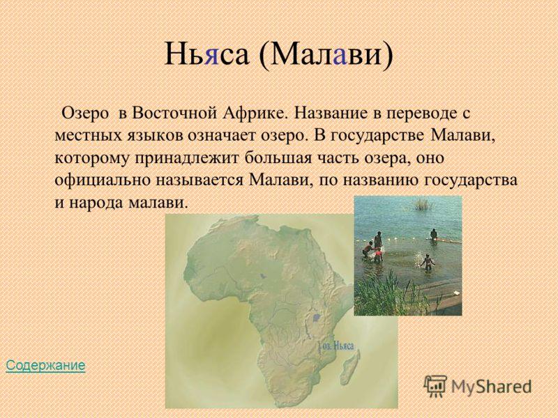 Ньяса (Малави) Озеро в Восточной Африке. Название в переводе с местных языков означает озеро. В государстве Малави, которому принадлежит большая часть озера, оно официально называется Малави, по названию государства и народа малави. Содержание