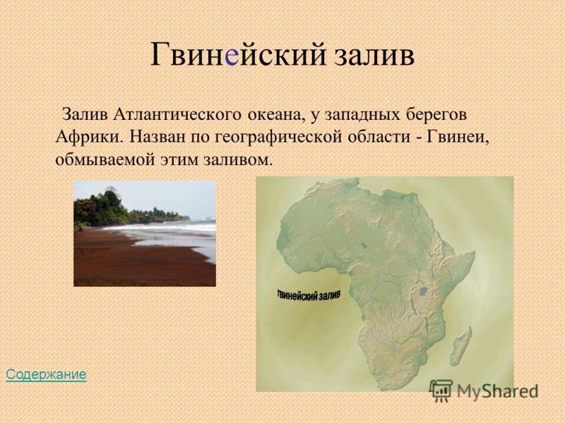 Гвинейский залив Залив Атлантического океана, у западных берегов Африки. Назван по географической области - Гвинеи, обмываемой этим заливом. Содержание