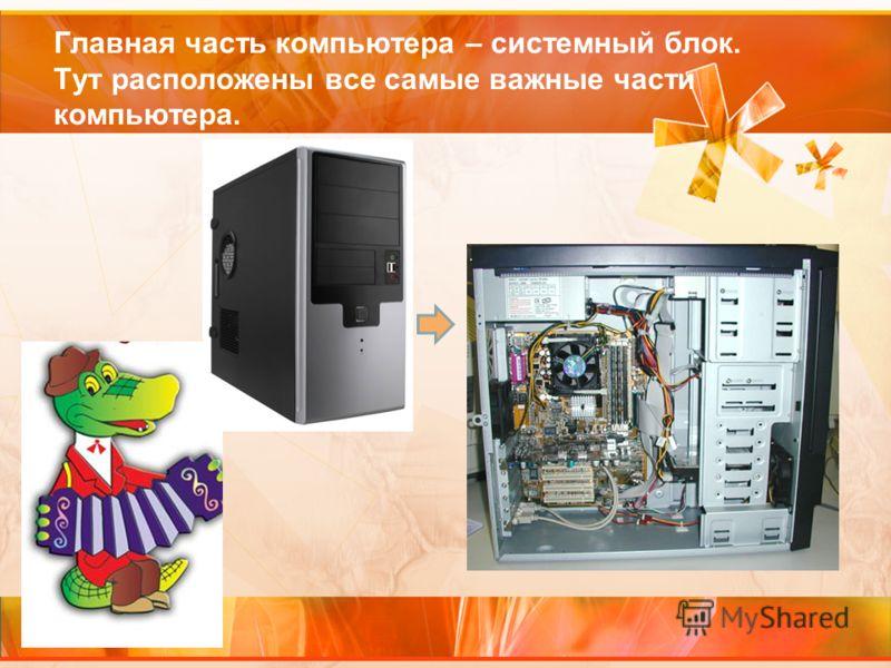Главная часть компьютера – системный блок. Тут расположены все самые важные части компьютера.