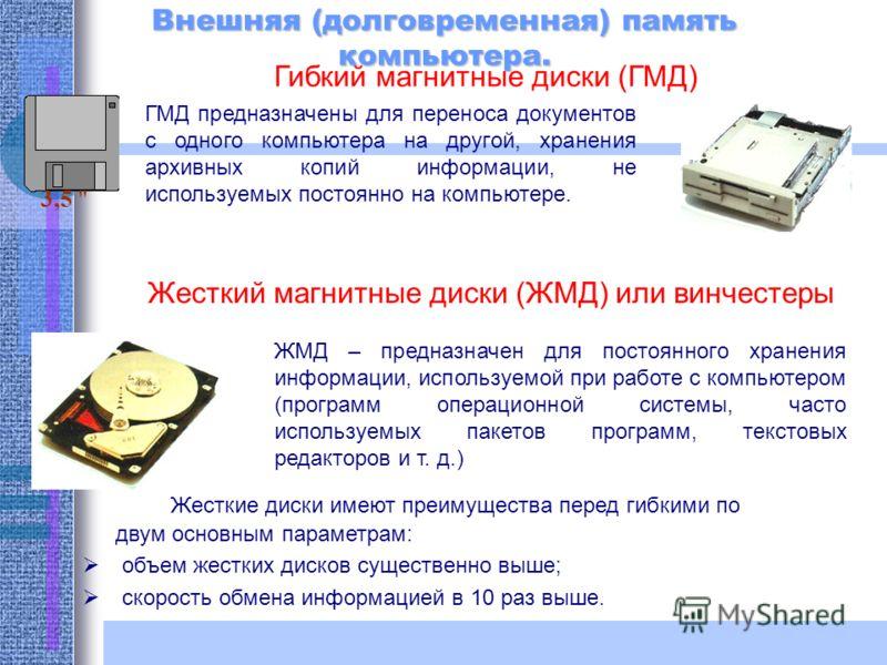 Внешняя (долговременная) память компьютера. Гибкий магнитные диски (ГМД) ГМД предназначены для переноса документов с одного компьютера на другой, хранения архивных копий информации, не используемых постоянно на компьютере. Жесткий магнитные диски (ЖМ