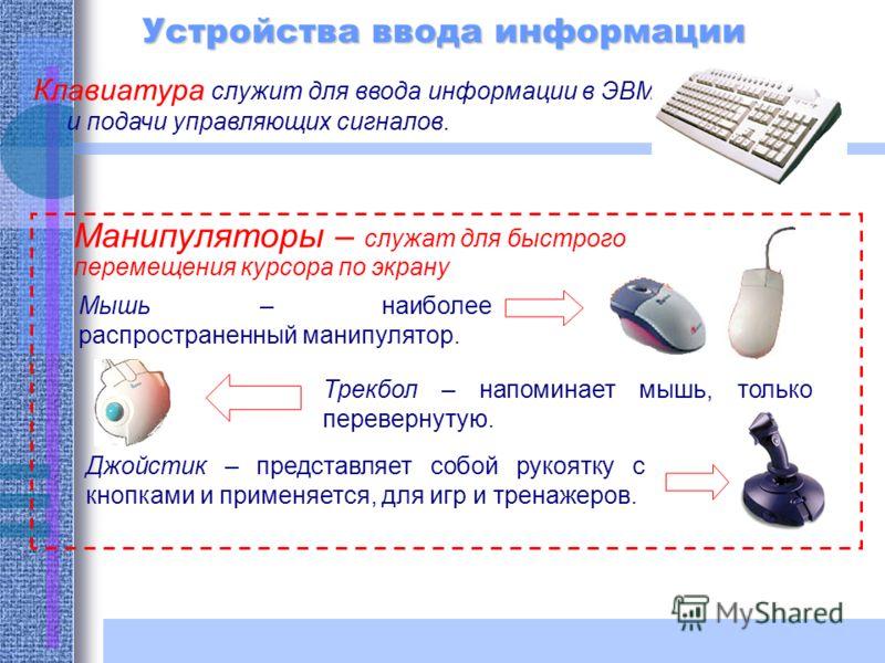 Устройства ввода информации Клавиатура служит для ввода информации в ЭВМ и подачи управляющих сигналов. Манипуляторы – служат для быстрого перемещения курсора по экрану Мышь – наиболее распространенный манипулятор. Трекбол – напоминает мышь, только п