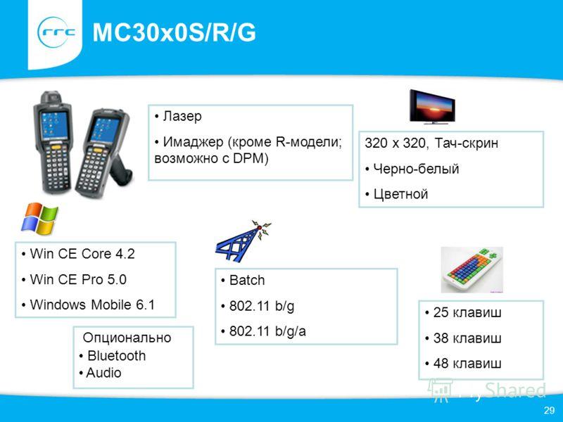 29 MC30x0S/R/G 25 клавиш 38 клавиш 48 клавиш 320 x 320, Тач-скрин Черно-белый Цветной Win CE Core 4.2 Win CE Pro 5.0 Windows Mobile 6.1 Batch 802.11 b/g 802.11 b/g/a Лазер Имаджер (кроме R-модели; возможно с DPM) Опционально Bluetooth Audio