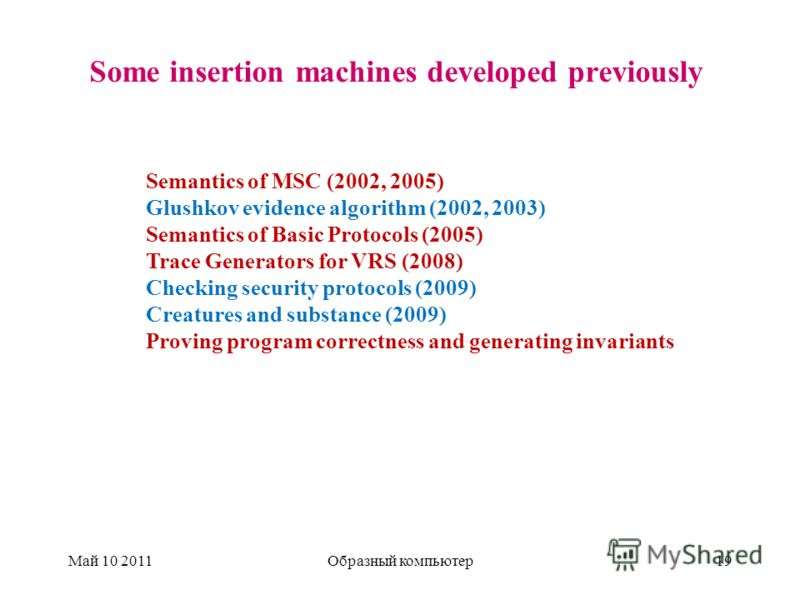 Some insertion machines developed previously Май 10 2011Образный компьютер19 Semantics of MSC (2002, 2005) Glushkov evidence algorithm (2002, 2003) Semantics of Basic Protocols (2005) Trace Generators for VRS (2008) Checking security protocols (2009)