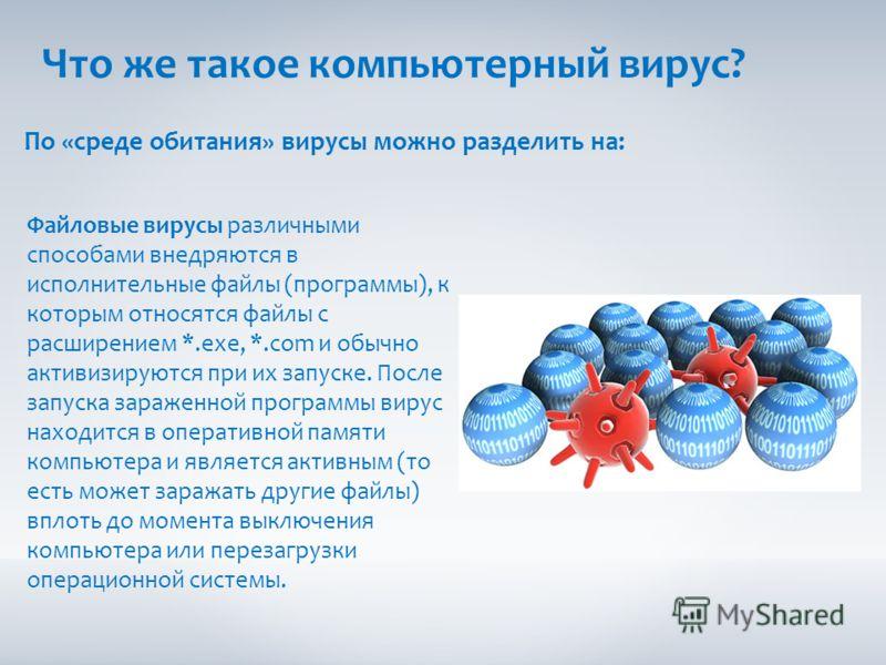 Что же такое компьютерный вирус? По «среде обитания» вирусы можно разделить на: Файловые вирусы различными способами внедряются в исполнительные файлы (программы), к которым относятся файлы с расширением *.exe, *.com и обычно активизируются при их за