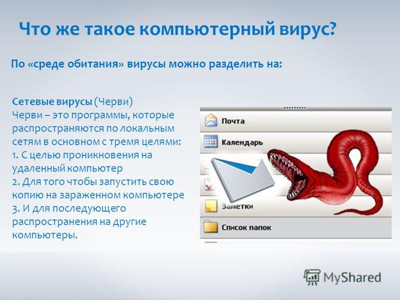 Что же такое компьютерный вирус? По «среде обитания» вирусы можно разделить на: Сетевые вирусы (Черви) Черви – это программы, которые распространяются по локальным сетям в основном с тремя целями: 1. С целью проникновения на удаленный компьютер 2. Дл