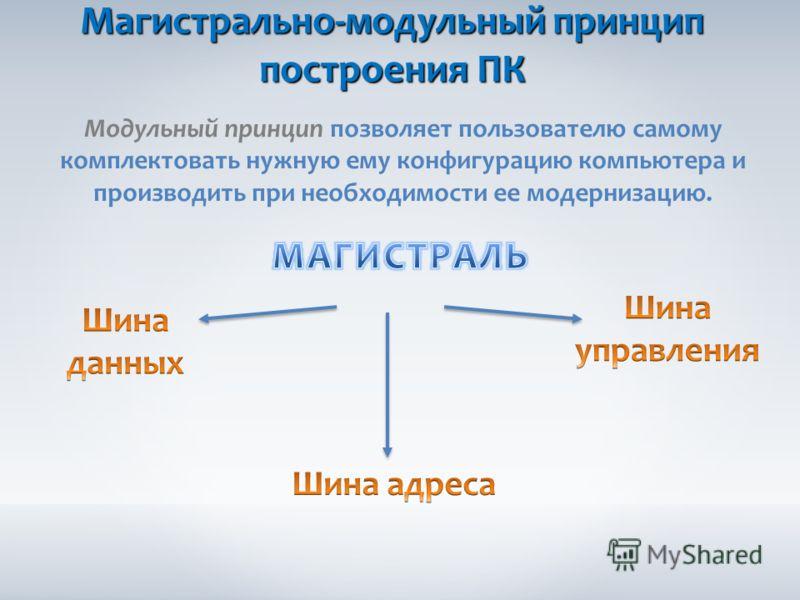 Магистрально-модульный принцип построения ПК Модульный принцип позволяет пользователю самому комплектовать нужную ему конфигурацию компьютера и производить при необходимости ее модернизацию.