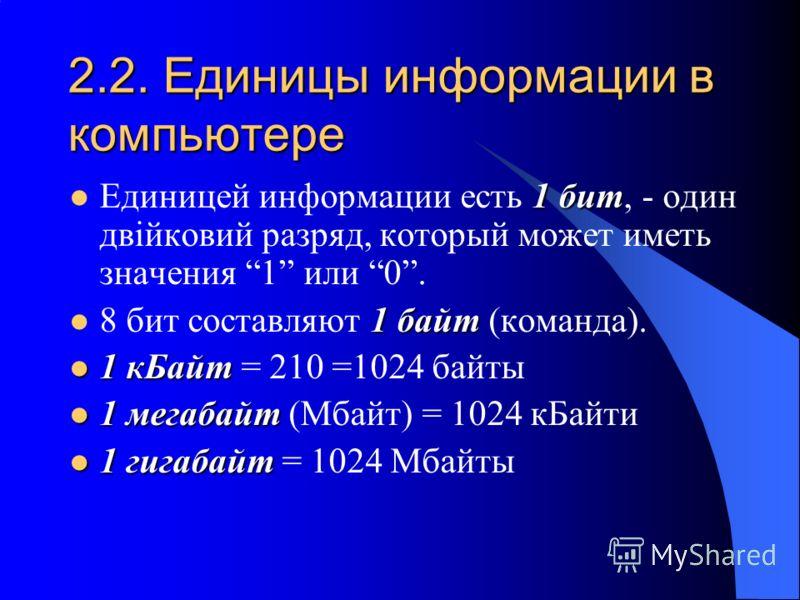 2.2. Единицы информации в компьютере 1 бит Единицей информации есть 1 бит, - один двійковий разряд, который может иметь значения 1 или 0. 1 байт 8 бит составляют 1 байт (команда). 1 кБайт 1 кБайт = 210 =1024 байты 1 мегабайт 1 мегабайт (Мбайт) = 1024