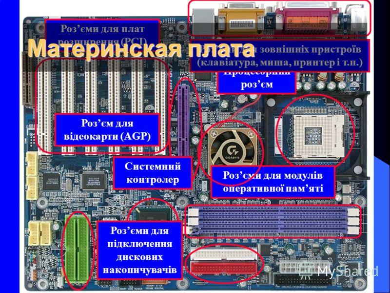 Процесорний розєм Розєми для плат розширення (РСІ) Розєми для зовнішніх пристроїв (клавіатура, миша, принтер і т.п.) Розєми для модулів оперативної памяті Розєм для відеокарти (AGP) Системний контролер Розєми для підключення дискових накопичувачів Ма
