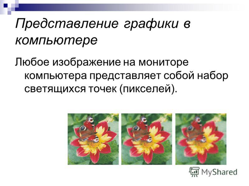 Представление графики в компьютере Любое изображение на мониторе компьютера представляет собой набор светящихся точек (пикселей).
