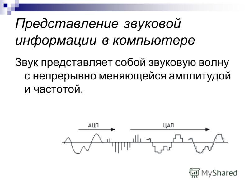 Представление звуковой информации в компьютере Звук представляет собой звуковую волну с непрерывно меняющейся амплитудой и частотой.