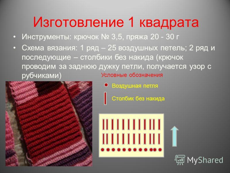 Изготовление 1 квадрата Инструменты: крючок 3,5, пряжа 20 - 30 г Схема вязания: 1 ряд – 25 воздушных петель; 2 ряд и последующие – столбики без накида (крючок проводим за заднюю дужку петли, получается узор с рубчиками) Воздушная петля Столбик без на