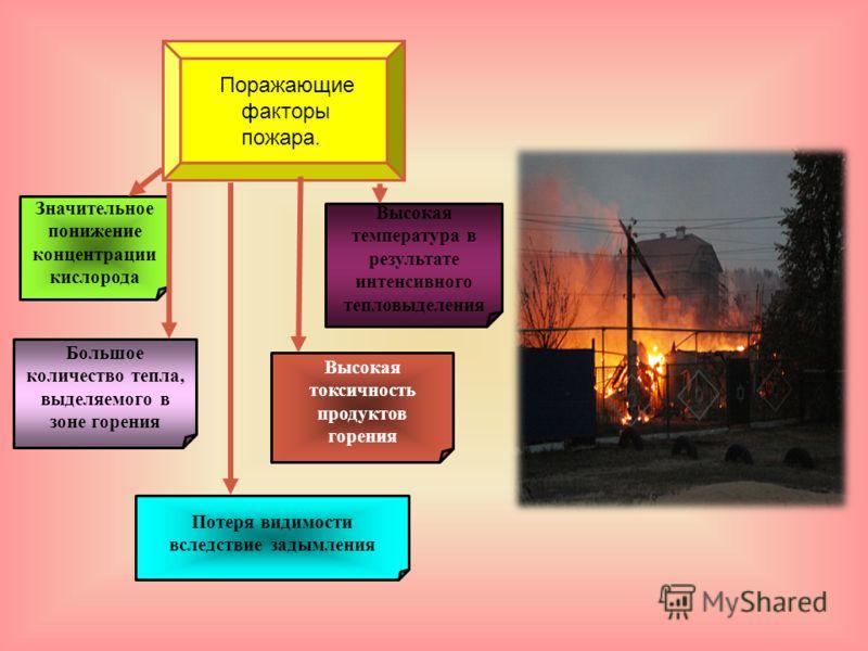 Поражающие факторы пожара. Высокая температура в результате интенсивного тепловыделения Большое количество тепла, выделяемого в зоне горения Потеря видимости вследствие задымления Значительное понижение концентрации кислорода Высокая токсичность прод