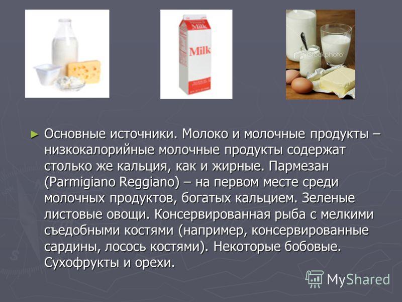 Основные источники. Молоко и молочные продукты – низкокалорийные молочные продукты содержат столько же кальция, как и жирные. Пармезан (Parmigiano Reggiano) – на первом месте среди молочных продуктов, богатых кальцием. Зеленые листовые овощи. Консерв