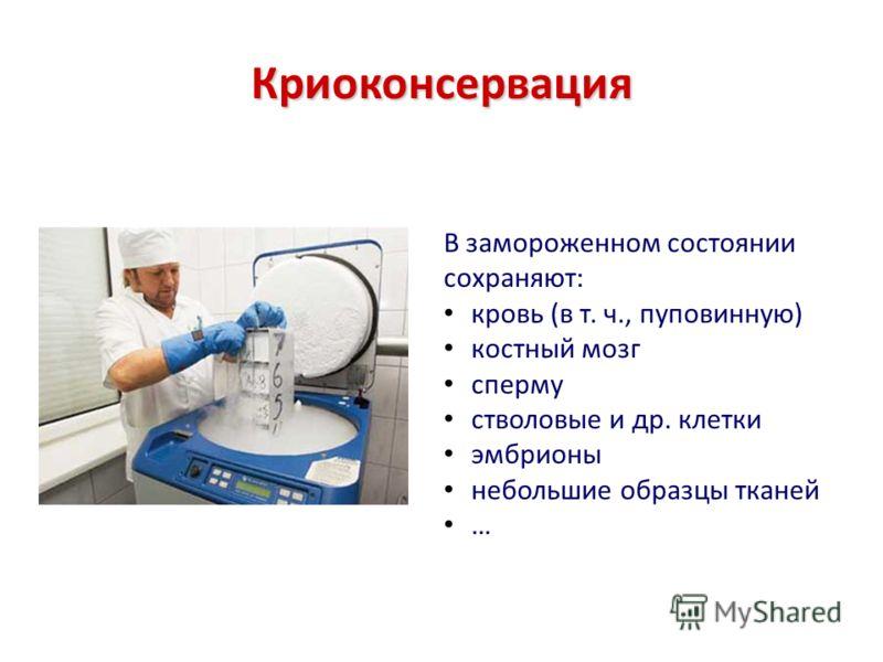 Криоконсервация В замороженном состоянии сохраняют: кровь (в т. ч., пуповинную) костный мозг сперму стволовые и др. клетки эмбрионы небольшие образцы тканей …