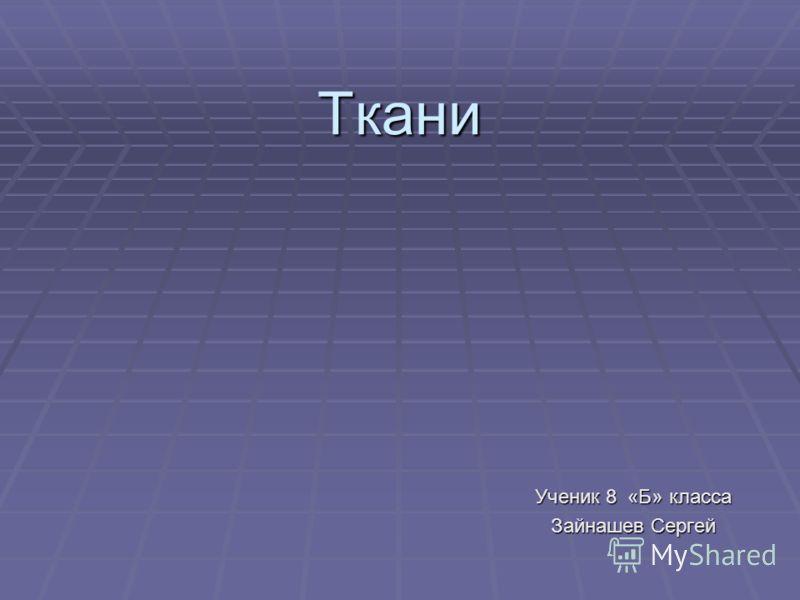 Ткани Ученик 8 «Б» класса Зайнашев Сергей