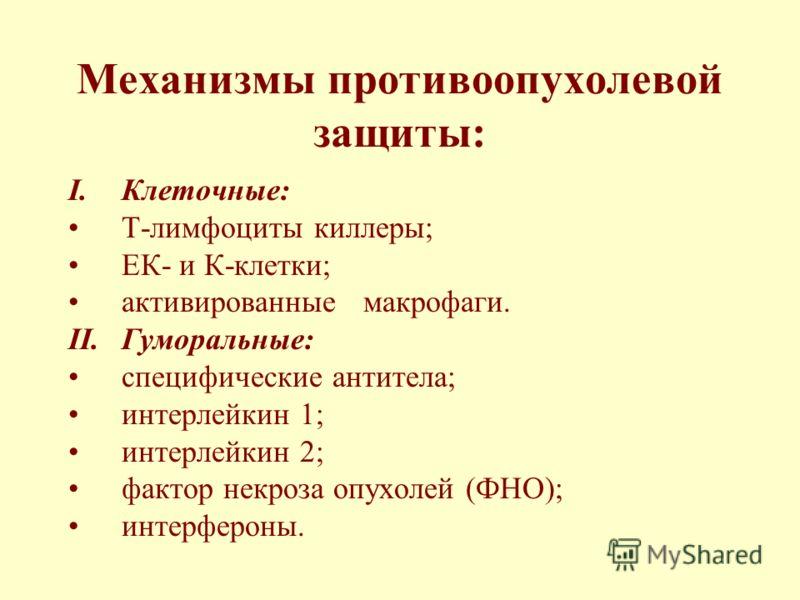 Механизмы противоопухолевой защиты: I.Клеточные: Т-лимфоциты киллеры; ЕК- и К-клетки; активированные макрофаги. II.Гуморальные: специфические антитела; интерлейкин 1; интерлейкин 2; фактор некроза опухолей (ФНО); интерфероны.
