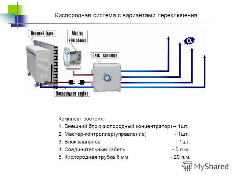 Комплект состоит: 1. Внешний блок(кислородный концентратор) – 1шт. 2. Мастер-контроллер(управление) - 1шт. 3. Блок клапанов - 1шт. 4. Соединительный кабель - 5 п.м. 5. Кислородная трубка 6 мм - 20 п.м. Кислородная система с вариантами переключения