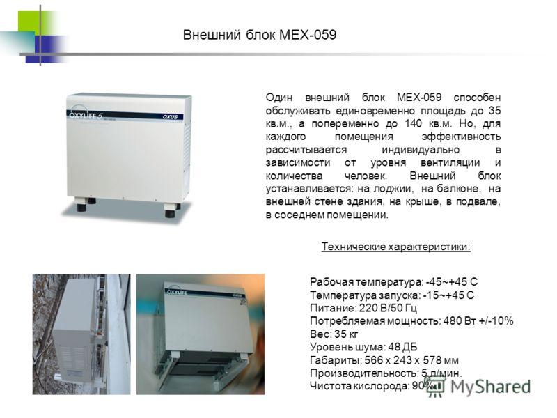 Один внешний блок MEX-059 способен обслуживать единовременно площадь до 35 кв.м., а попеременно до 140 кв.м. Но, для каждого помещения эффективность рассчитывается индивидуально в зависимости от уровня вентиляции и количества человек. Внешний блок ус