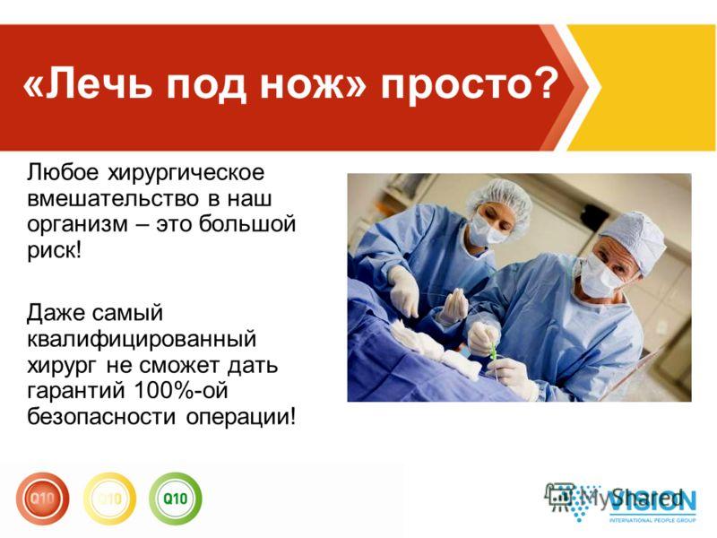 Любое хирургическое вмешательство в наш организм – это большой риск! Даже самый квалифицированный хирург не сможет дать гарантий 100%-ой безопасности операции! «Лечь под нож» просто?