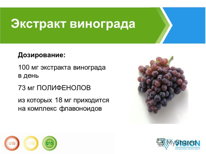 Экстракт винограда Дозирование: 100 мг экстракта винограда в день 73 мг ПОЛИФЕНОЛОВ из которых 18 мг приходится на комплекс флавоноидов