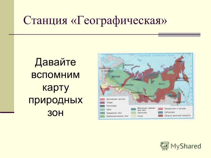 Станция «Географическая» Давайте вспомним карту природных зон