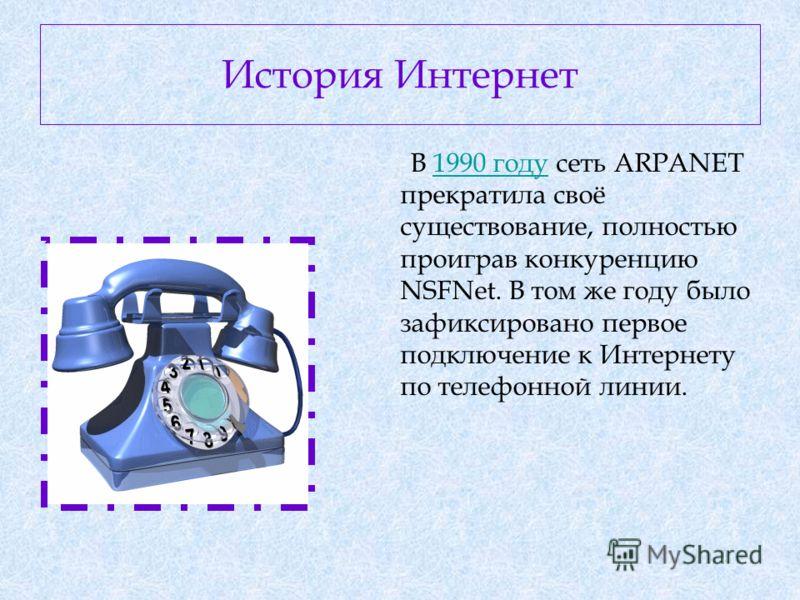 В 1990 году сеть ARPANET прекратила своё существование, полностью проиграв конкуренцию NSFNet. В том же году было зафиксировано первое подключение к Интернету по телефонной линии.1990 году История Интернет