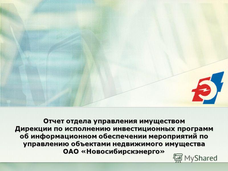Отчет отдела управления имуществом Дирекции по исполнению инвестиционных программ об информационном обеспечении мероприятий по управлению объектами недвижимого имущества ОАО «Новосибирскэнерго»