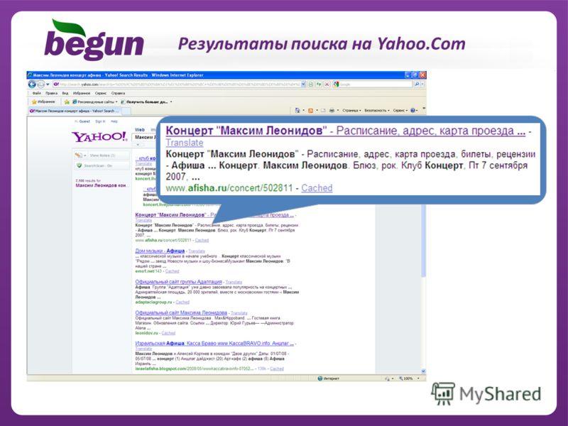 11 Результаты поиска на Yahoo.Com